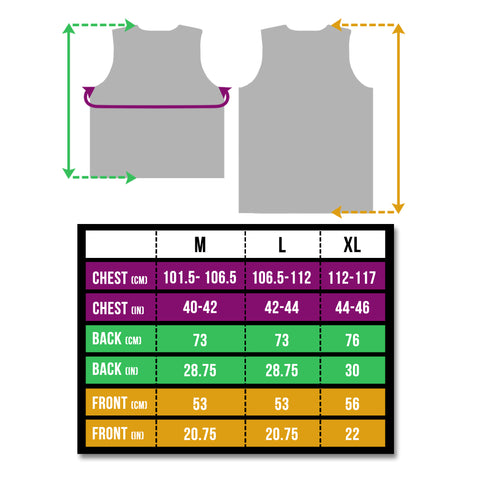 btr reflective gilet size guide