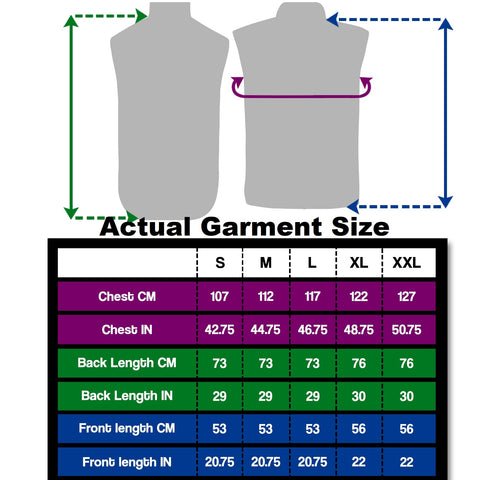 BTR Classic Gilet shown actual garment measurements in sizes in cms and inches