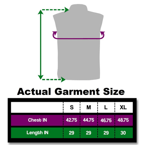 BE Totally reflective gilet sizing shown