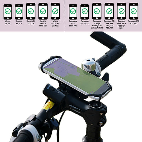 Phone mount for bike handlebar fits Samsung & iPhone regular size & iPhone Plus & Samsung Plus
