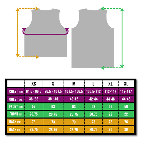 BTR reflective running and cycling high vis gilet and vest size chart
