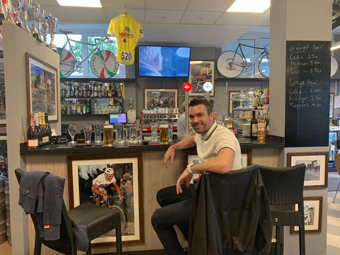Dan Hawes in a cycling bar in Mallorca