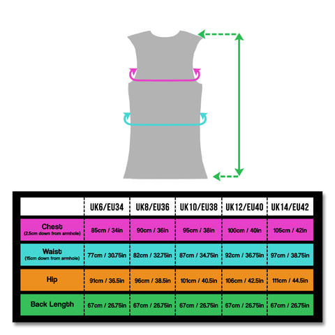 sizing for ladies gilet that is totally reflective sizes 6 - 14