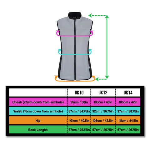 UK size chart for BTR BE Totally reflective gilet - shine bright !
