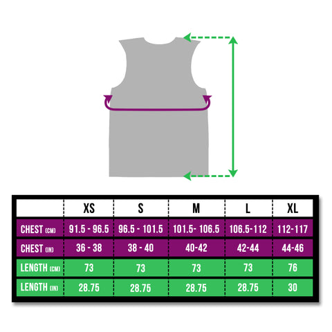 BTR high vis reflective cycling and running gilet and vest size chart
