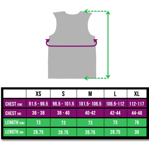 BTR Be Totally Reflective Silver gilet / vest size chart