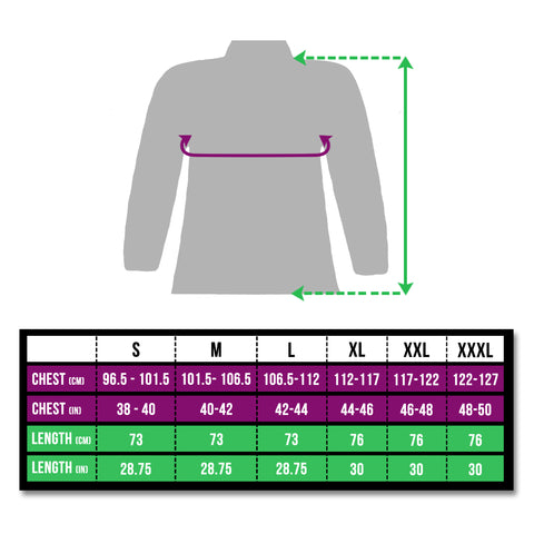 Size chart BTR high vis and reflective jacket