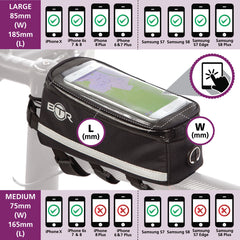 BTR Deluxe Phone Bike Bag Size Dimensions infographic