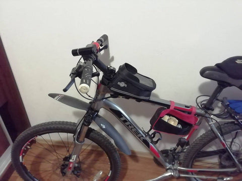 BTR frame bag on a bike - customer image showing fittings