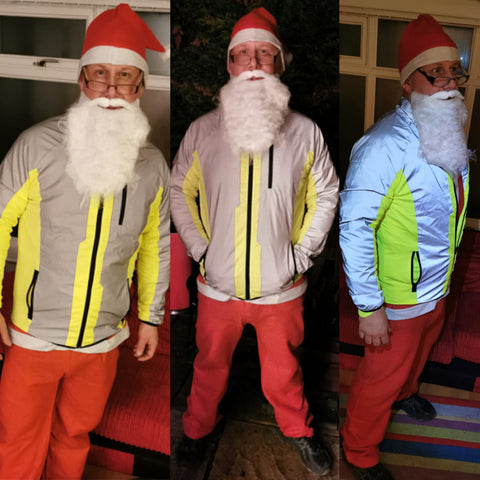 Father Christmas wearing our High vis & reflective jacket on a Santa run! Even Santa needs to be seen