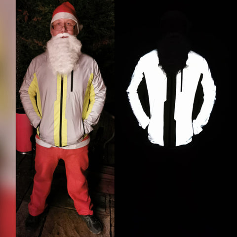 BTR high vis & reflective jacket shown in the dark and light, modelled by Santa!