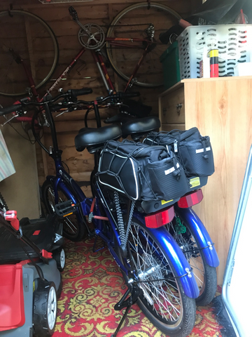 BTR rear rack pannier bike bags .  Two on a rear rack tandem bike