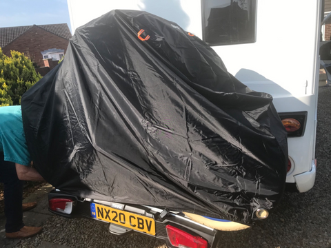 BTR bike cover on motorhome covering 2 electric bikes