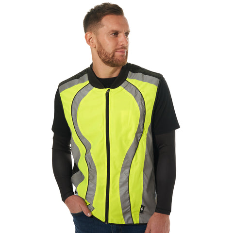 btr high vis reflective running and cycling gilet day time shot