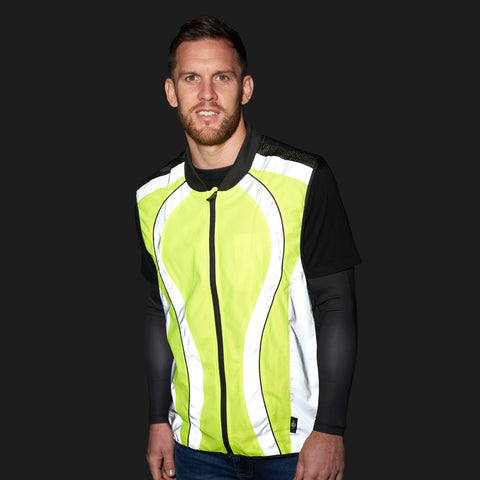 BTR high vis reflective cycling and running gilet night time short