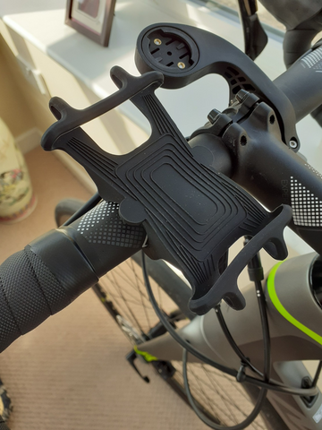 BTR bike phone holder mounted on bicycle handlebars