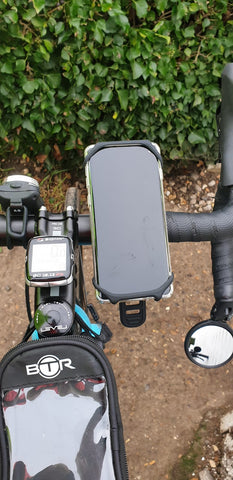 BTR bike phone holder mount on bicycle with Samsung Galaxy S10 attached