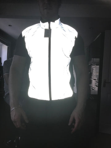 BTR reflective high vis running and cycling gilet worn by a man