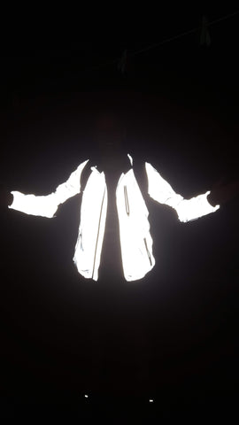 BTR Be Totally Reflective jacket in the dark with reflection!