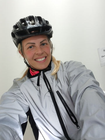BTR reflective cycling jacket worn by a lady