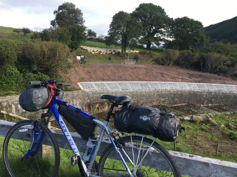 BTR waterproof rack bag and pannier bag on bicycle on Lon las Cymru cycling route