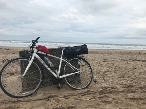 BTR Waterproof Rear Rack Bike Pannier Bag on Bicycle on Beach between Edinburgh and Newcastle