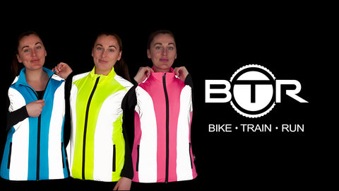 Ladies high vis and reflective gilet shown in pink, yellow and baby blue with BTR logo