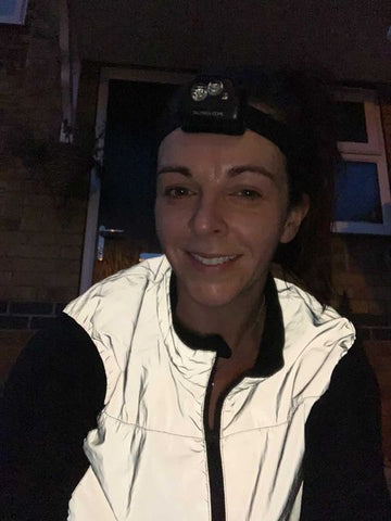 Reflective gilet, the BE Totally Reflective from BTR worn by Catherine, a customer photo