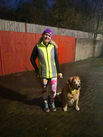 Claire our Instagram Ambassador wearing BTR high vis clothing and reflective gear
