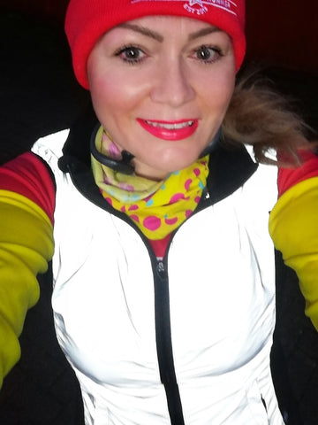 Claire wearing our ladies cut reflective gilet in size 10 - reflect bright in high vis!