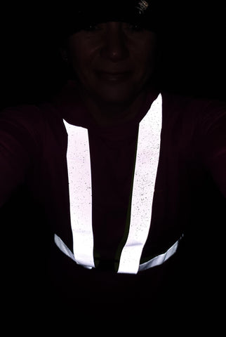 Debbie wearing the reflective sash from BTR Be Totally Reflective  high vis