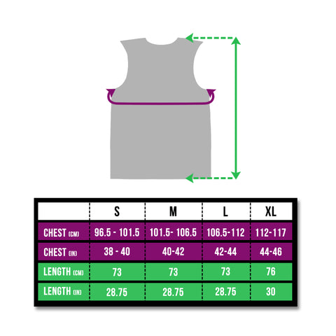 Sizing chart for the BTR reflective high vis gilet