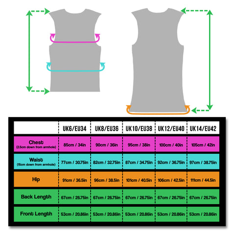 BTR womens high vis reflective cycling and running gilet size chart