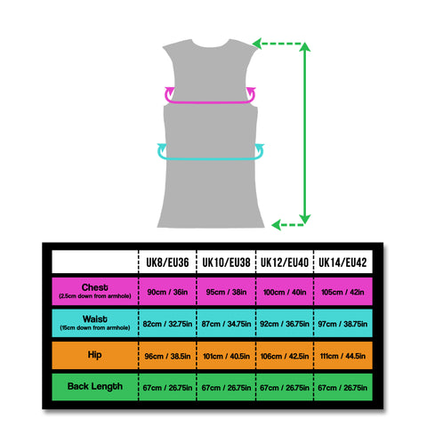 BTR Ladies gilet size chart for high vis and reflective vest
