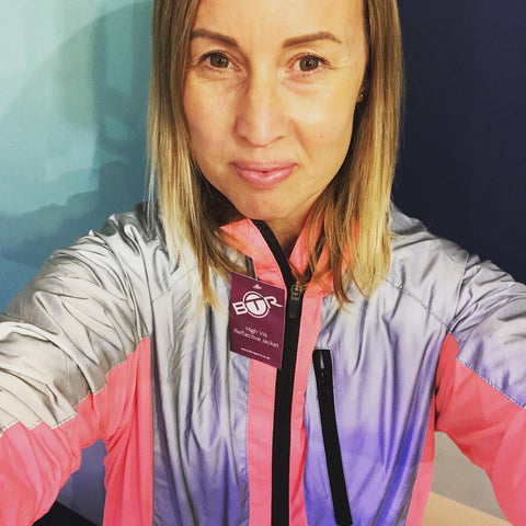 Hannah wearing our bright pink high vis and reflective jacket. Customer photos are great