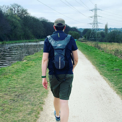 BTR hydration bag with 2Litre Bladder on a countryside walk