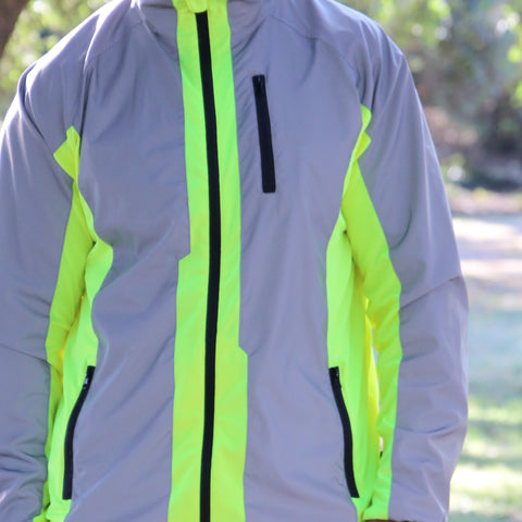 Hi Viz & Reflective Silver Sports Jacket shown being worn in the daylight showing the BRIGHT yellow hi viz is bright in the day
