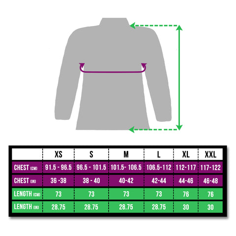 high vis reflective cycling and running jacket size chart