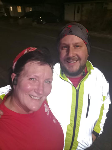 Super selfie with BTR hi viz & reflective jacket on in the dark - showing the reflective