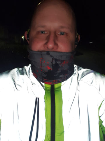 Night time selfie with BTR hi vis and  reflective jacket shown in the dark reflecting