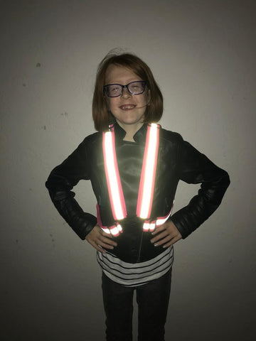 Kids pink  sash reflective for safety  - high vis be safe be seen from BTR