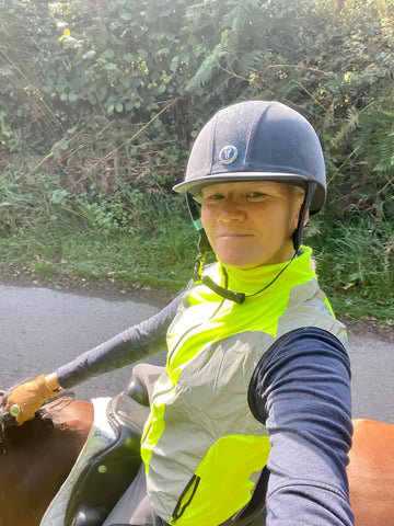 BTR Reflective & Hi vis gilet shown worn by our customer, Joanne, whilst horseriding