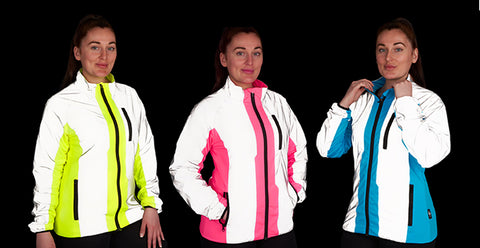 Ladies high visibility and reflective sports jacket for running, cycling outdoor sports