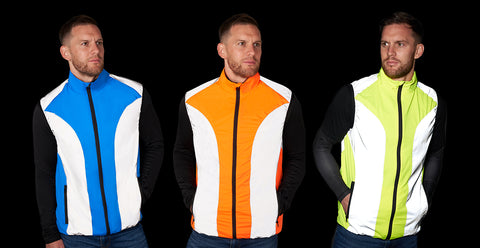 Mens bright reflective high vis and reflective gilet shown in the darl in yellow, orange and blue
