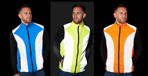 BTR Gilet in blue, yellow and orange with the reflective panels - shown worn by our model