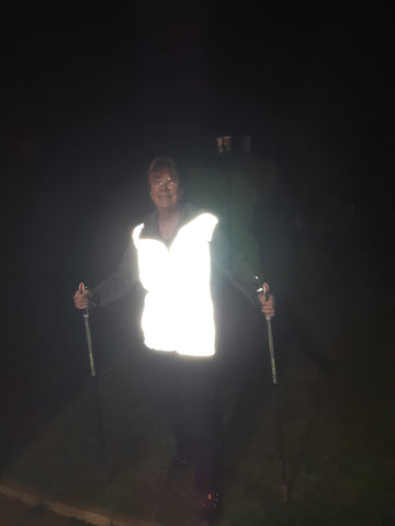 Customer photo from Lynne of her wearing our BTR high vis reflective gilet - looking great!