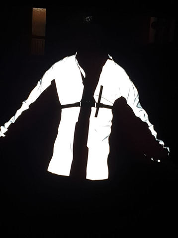 Mark wearing our high vis and reflective jacket in the dark ! high vis be seen
