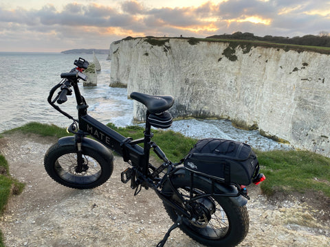 BTR bike rear rack bicycle pannier bag attached to a  Mate X electric bike