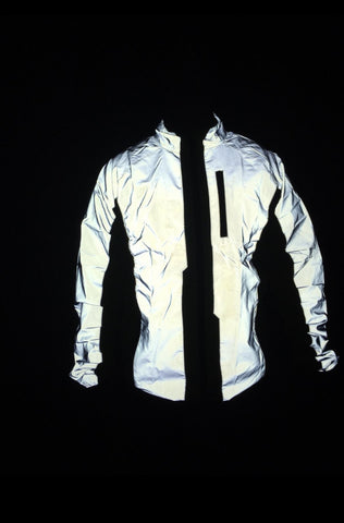 BTR Be Totally Reflective jacket in the dark with the flash - very reflective