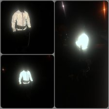 BTR BE totally reflective jacket shown in the dark - really visible, safety first